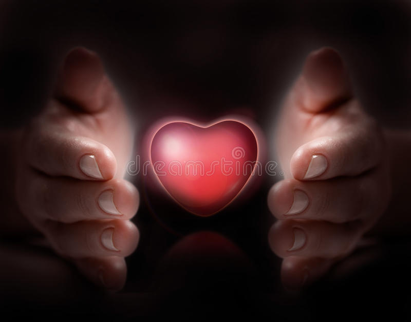 Love in hand. Hand cover love to show caring royalty free stock photography