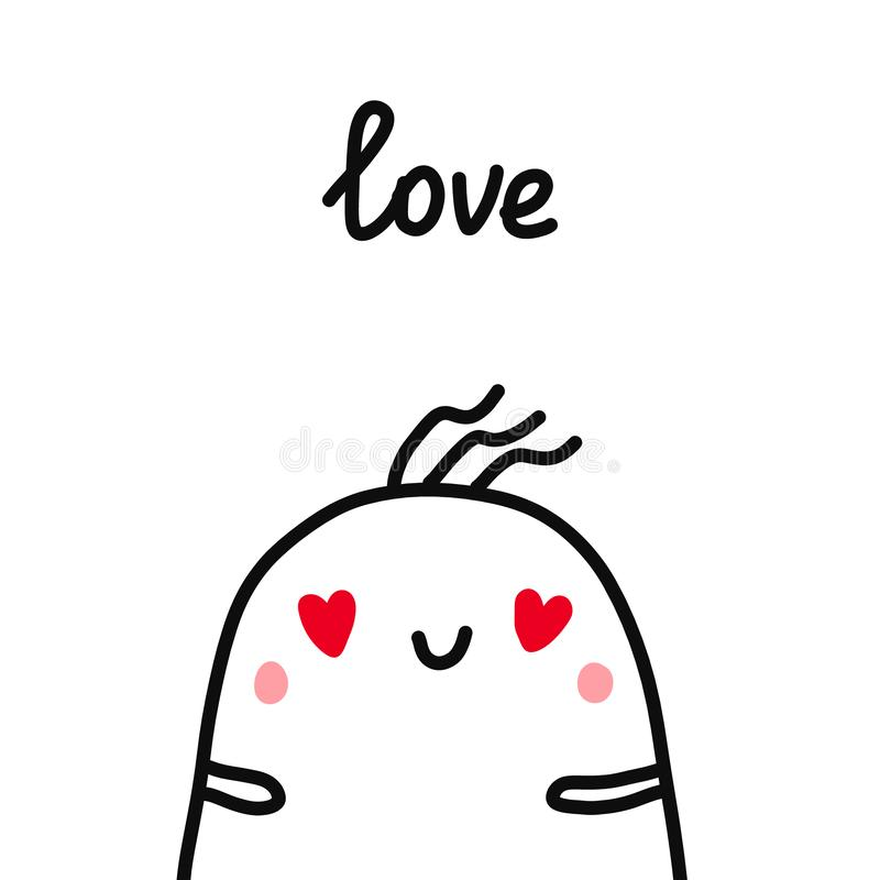 Love hand drawm illustration with marshmallow in love for prints posters t shirts and psychological articles. Minimalism vector illustration