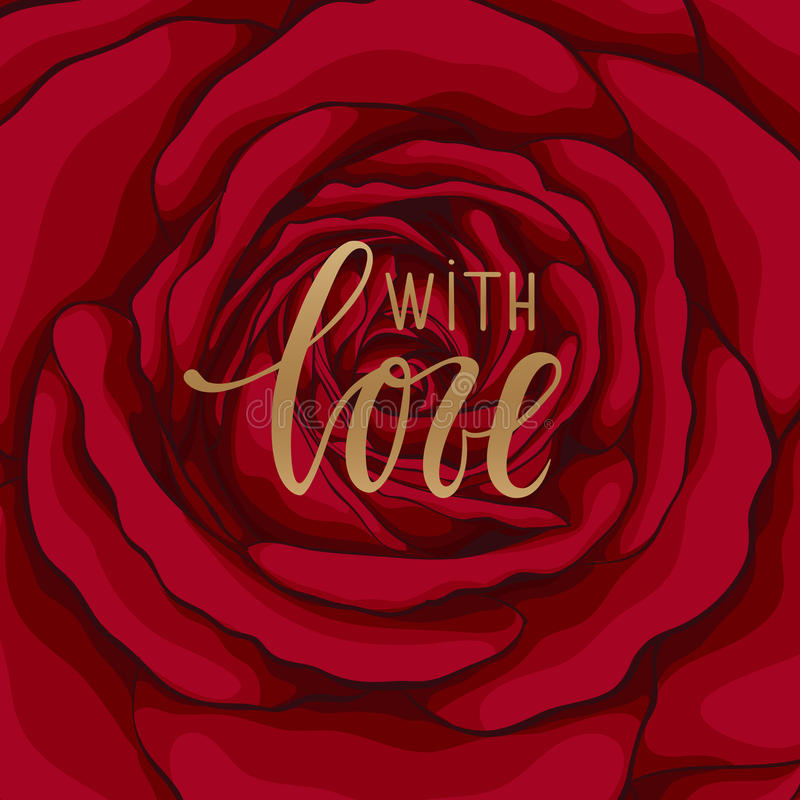 With love. Hand drawn calligraphy and brush pen lettering. stock illustration