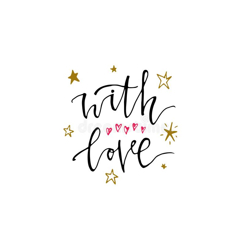With Love - hand drawn lettering card with heart and red heart. Isolated on white background. Used for greeting card, valentines d stock illustration