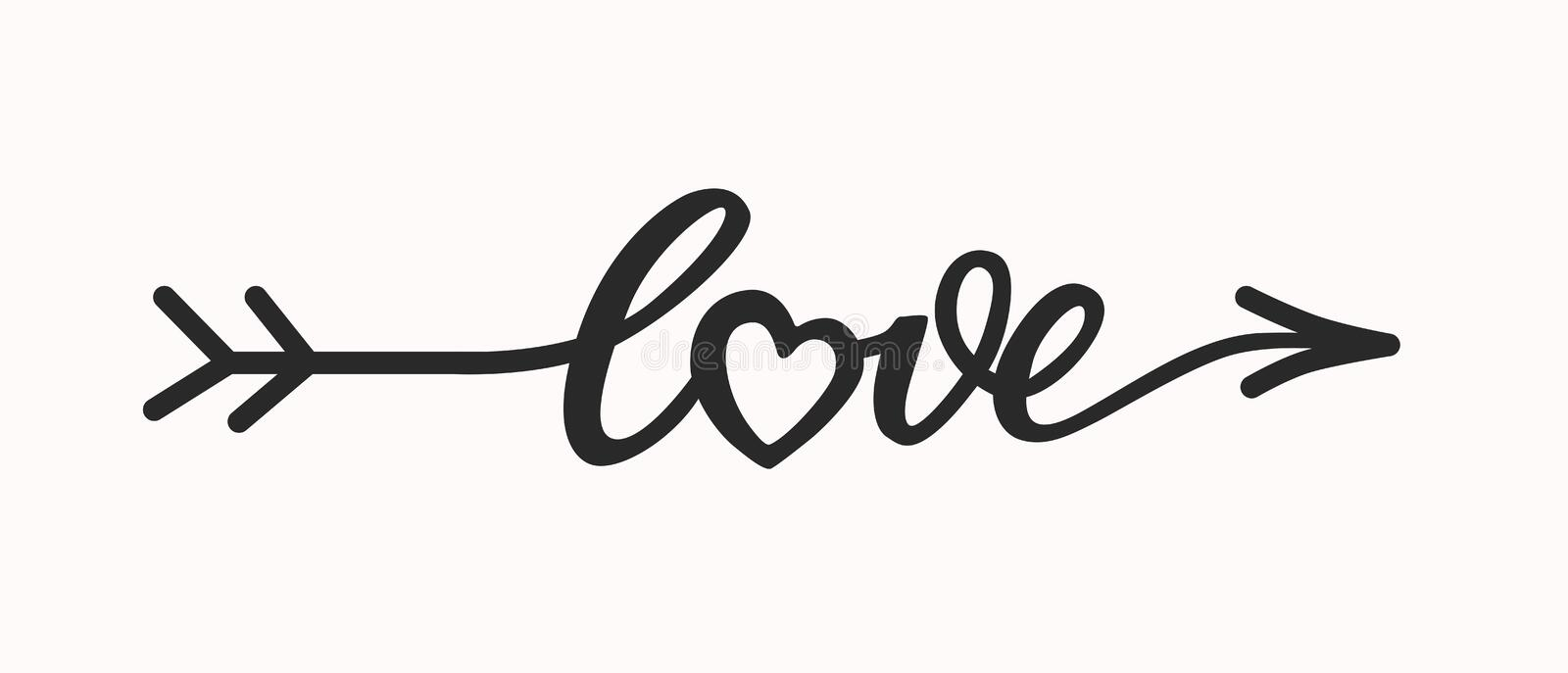 Love hand drawn lettering in form arrow royalty free stock photo