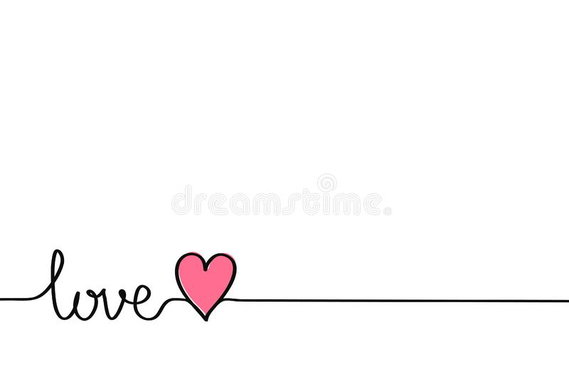 Love hand drawn word for valentines valentine Valentine`s day heart month love fun funny banner poster stock illustration