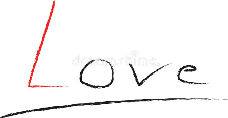 Love, hand written word with little red heart. Handwritten charcoal lettering calligraphy. Red and black letters. Isolated on whit stock illustration