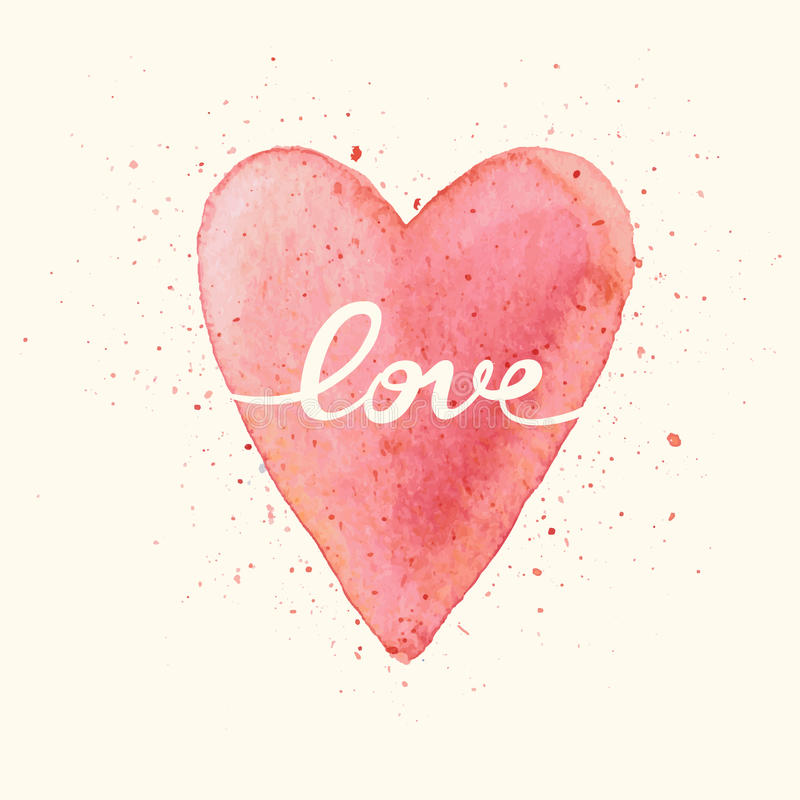 Love. Handmade watercolor postcard with heart. royalty free stock image