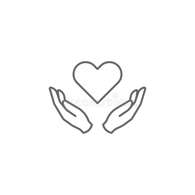 Love hands friendship outline icon. Elements of friendship line icon. Signs, symbols and vectors can be used for web, logo, mobile. App, UI, UX on white stock illustration