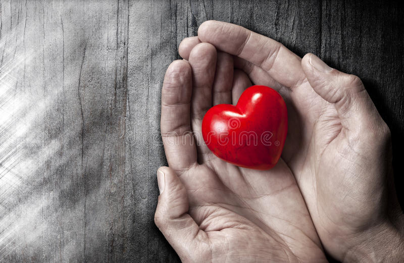 Love Hands Heart Background. A red love heart held in a pair of hands