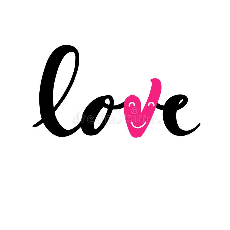 Love - handwritten lettering on white background royalty free stock photos