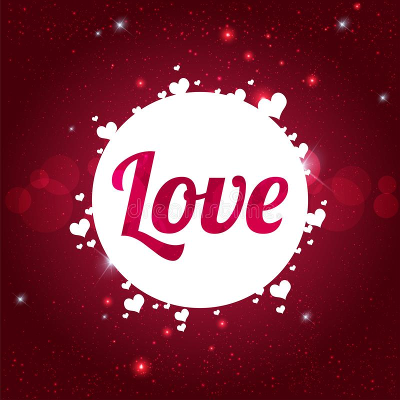 LOVE Happy Valentine`s day card on shiny red background with hearts stock illustration