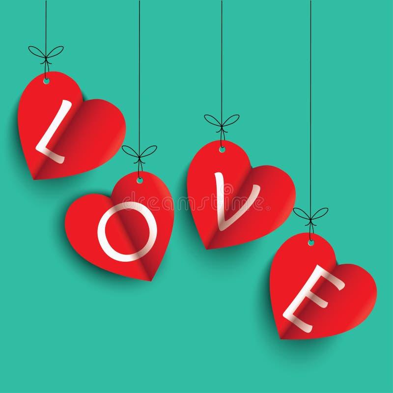Love, happy valentine`s day vector illustration. Happy valentines day greeting card vector illustration. Valentine, congratulation. Heart-shaped Love white text stock illustration