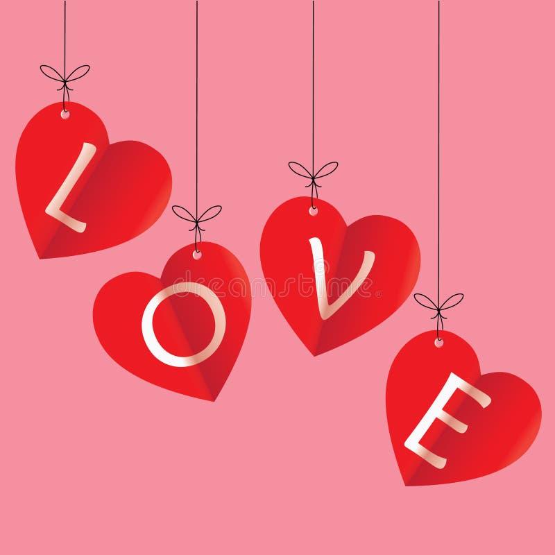 Love, happy valentine`s day vector illustration. Happy valentines day greeting card vector illustration. Valentine, congratulation. Heart-shaped Love white text vector illustration