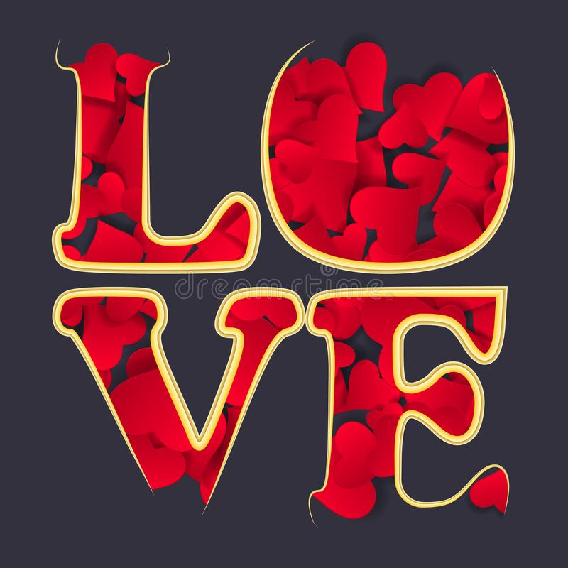 LOVE Happy Valentines day card, Font Type. A lot of paper hearts royalty free illustration