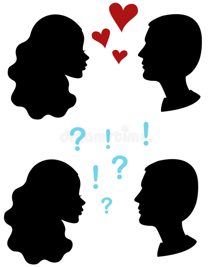 Love and hate. Couple head profiles stock illustration