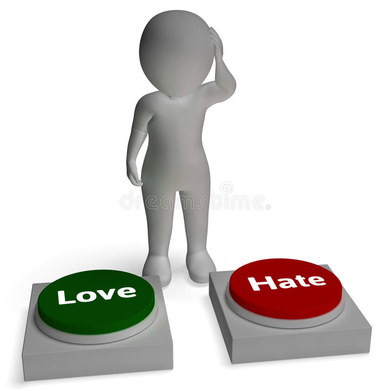 Love Hate Buttons Shows Loving And Hating. Relationship royalty free illustration