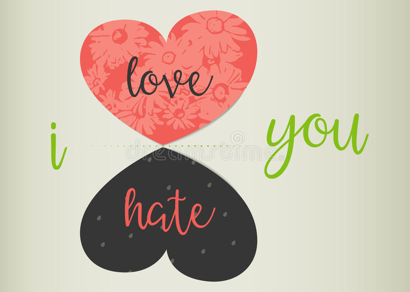 Love or hate concept. Love versus hate. Red heart and its reflection - black heart with words love and hate. Flowers inside a loving heart. Storm inside hating stock illustration