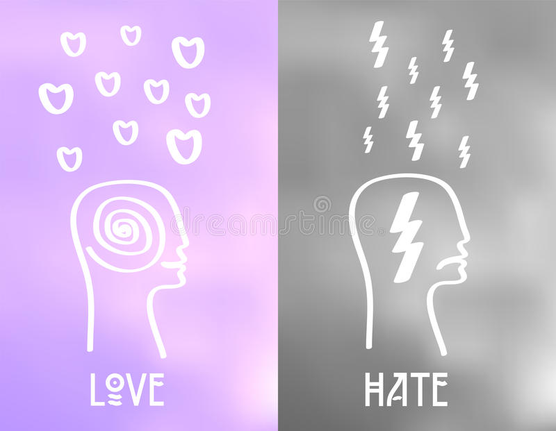 Love and Hate Emotion Icons On Cloudy Background. Vector Mood Concept.  vector illustration