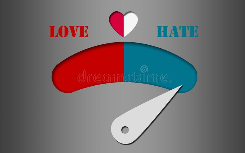 Love and hate gauge concept royalty free stock photo
