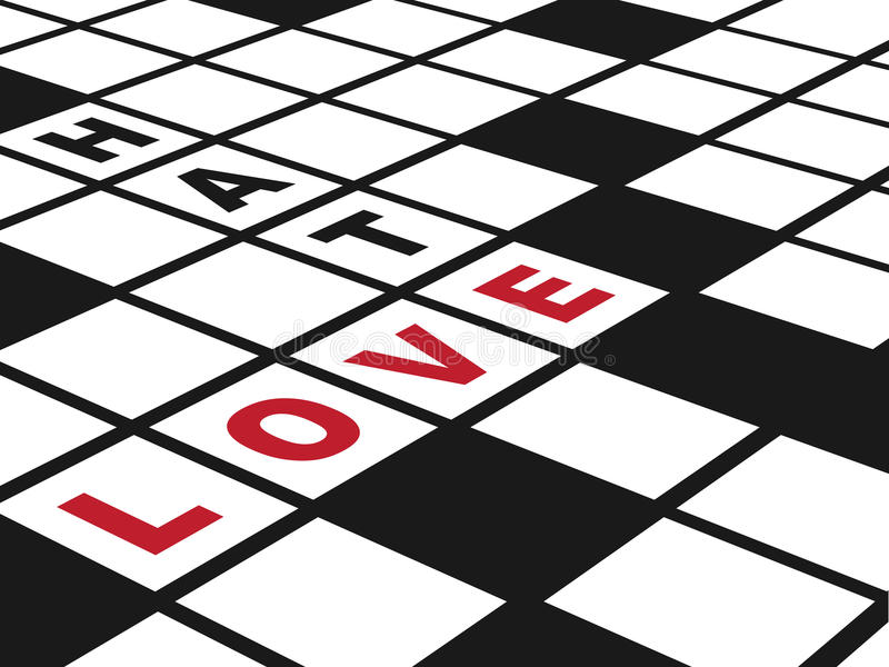 Love and Hate. Illustration of a conceptual crossword puzzle about love. Horizontal EPS10 vector stock illustration