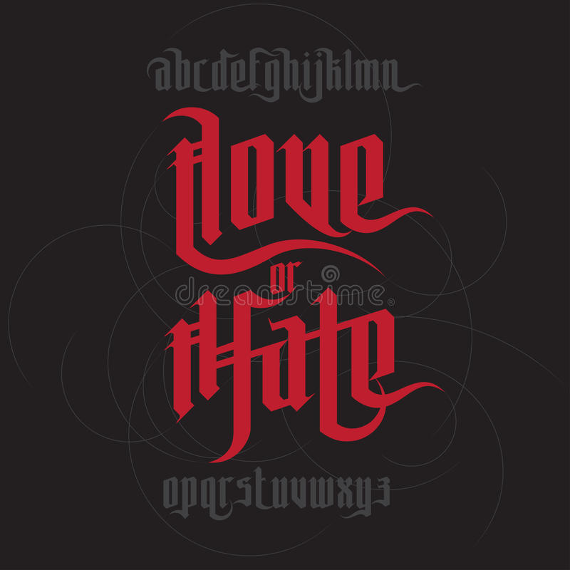 Love and Hate lettering. Modern Gothic Style Font. Gothic letters with decoration elements vector illustration