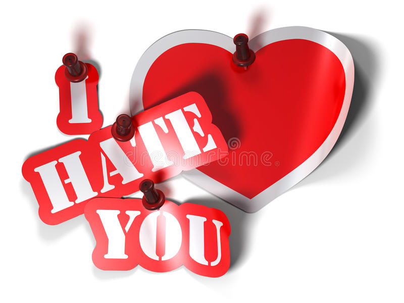 Love-hate relationship. I hate you and heart sticker over a white background with a pushpin royalty free illustration