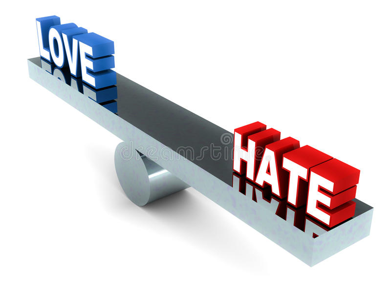 Love and hate. Words in balance, on a balance, white background royalty free illustration