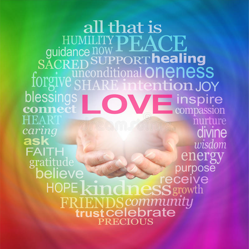 Love Heals Word Cloud stock photos