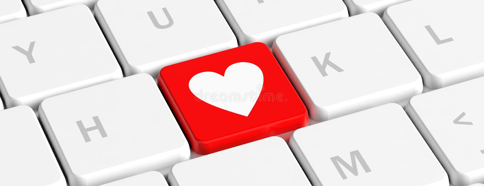 Love, health. Red key button with heart sign on a computer keyboard, banner. 3d illustration vector illustration