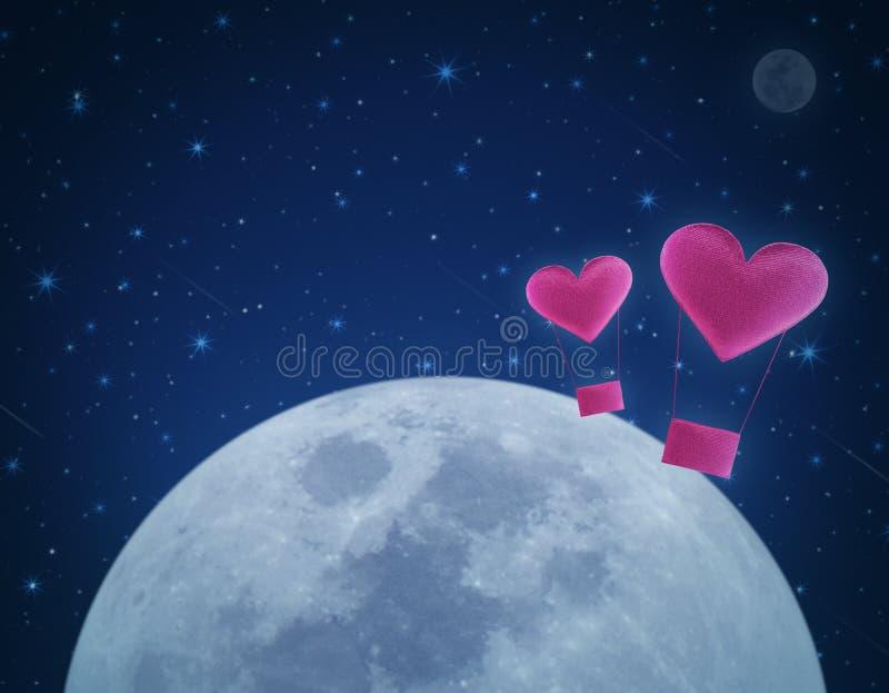 Love heart air balloon on fantasy night sky and moon. Love concept vector illustration