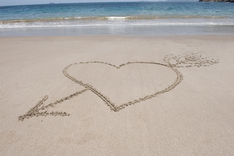 Download Love Heart And Arrow Sand, Costa Rica Stock Photography - Image: 12329242