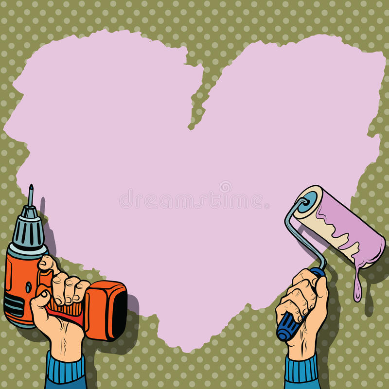 Love Heart Background Paint Wall Repair Stock Vector ...