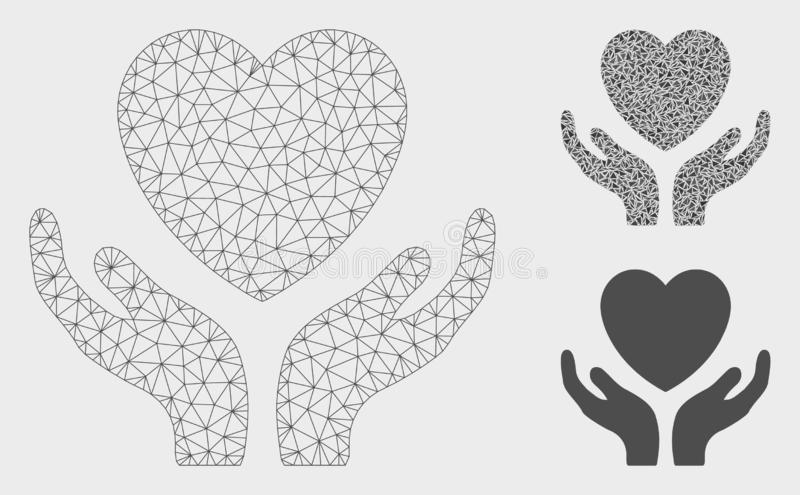 Love Heart Care Hands Vector Mesh Wire Frame Model and Triangle Mosaic Icon. Mesh love heart care hands model with triangle mosaic icon. Wire carcass triangular vector illustration
