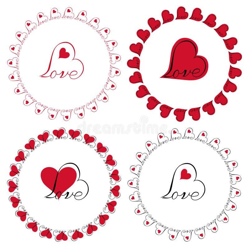 Love Heart Circle Frames Vector Clipart Stock Illustration ...