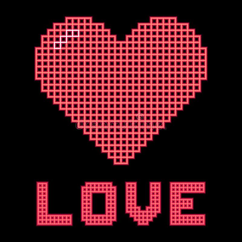 Love Heart on a Digital Grid Display. Red love heart and message on a digital grid display stock illustration