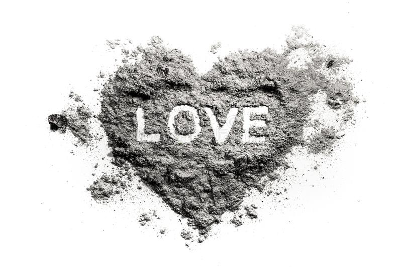 Love heart drawing in ash. Sand, dust as romantic emotion or broken feeling conccept, emotional pain, danger, fire stock image