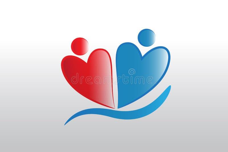 Love heart figures people logo vector design vector illustration