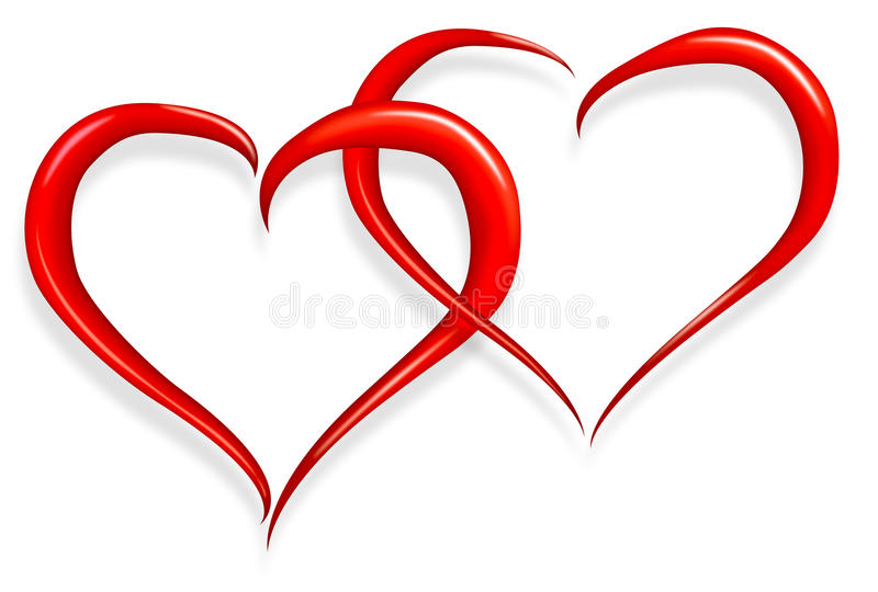 Love heart happy valentines day. Red love heart happy valentines day two halves make one stock illustration
