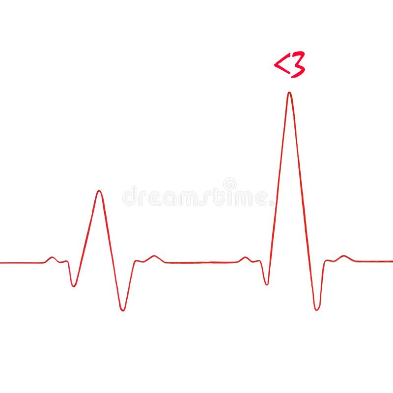 In love heart.  Heartbeat rhythm graph on a white background. royalty free stock image