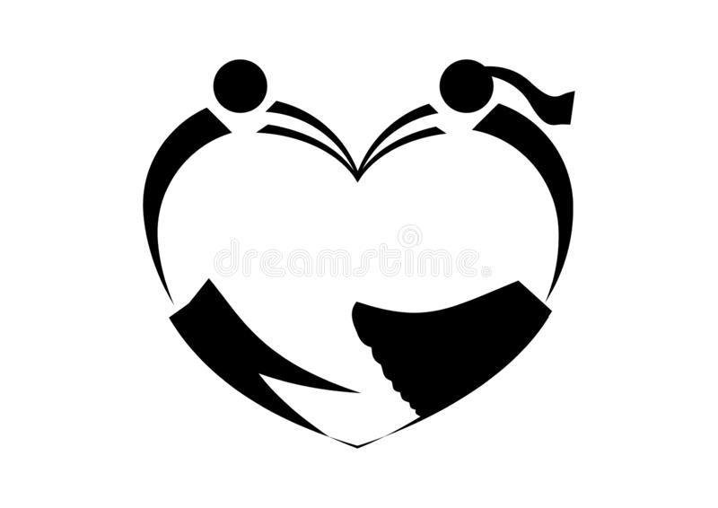 In love heart icon in black royalty free illustration