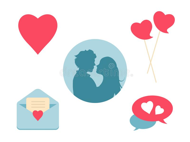 Love heart icon set. Design elements for Valentine`s Day and wedding. vector illustration