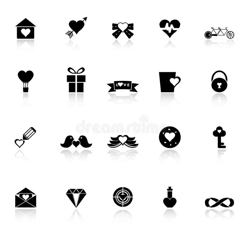 Love And Heart Icons With Reflect On White Backgro Stock Photography