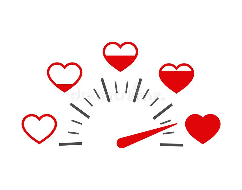 Love heart indicator.Full heart of love with speedometer icon. Love meter of Valentine`s day in flat style.Measuring indicator of vector illustration