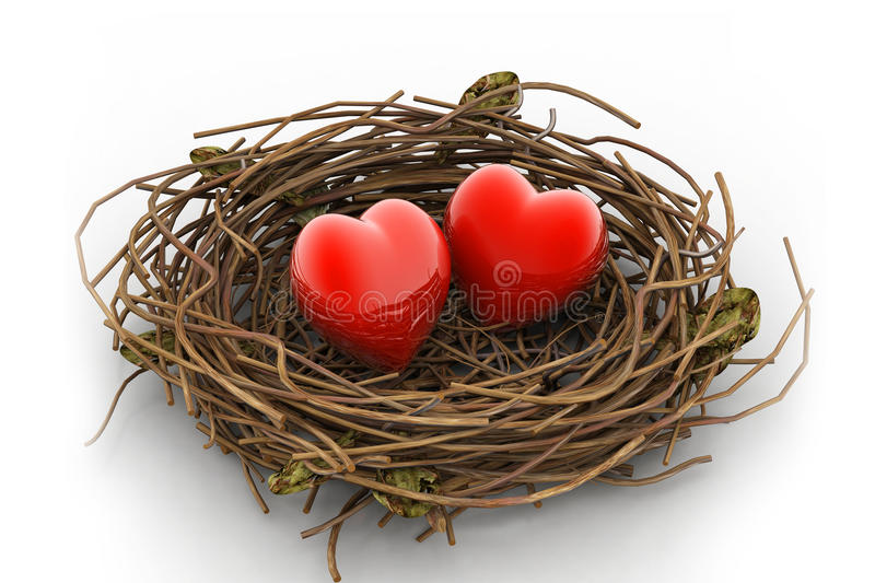Love heart and nest vector illustration