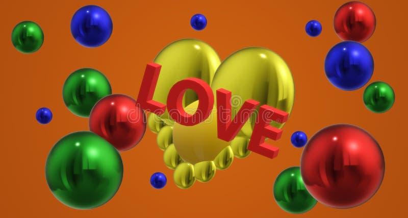Love heart new year 3 d graphics original colour stock illustration