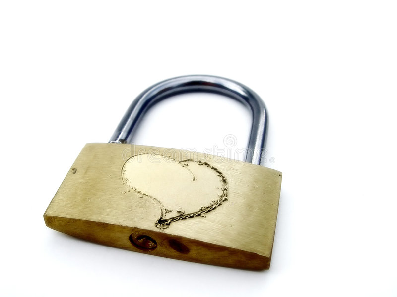 Love heart on padlock stock photos