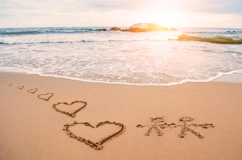 Love heart painting on beach royalty free stock image