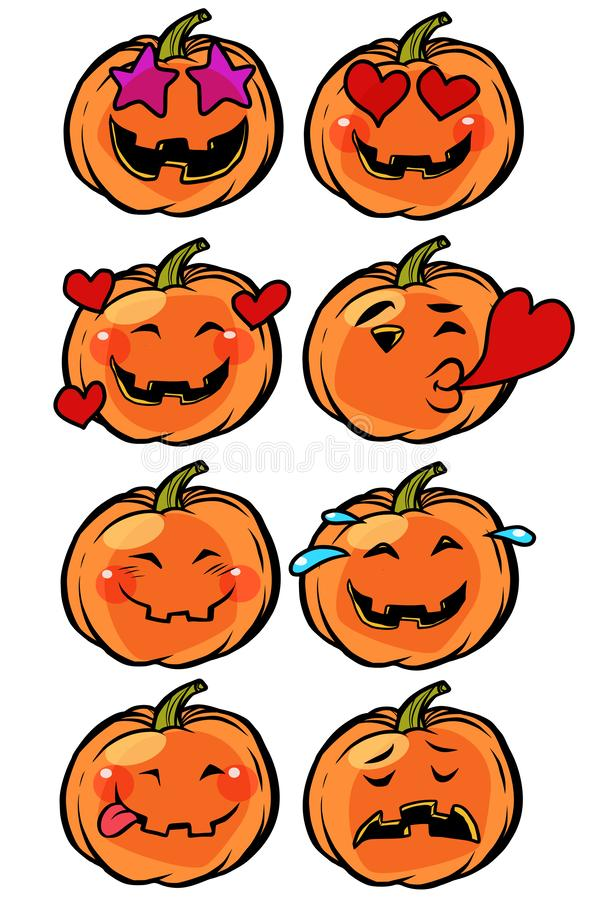 Love heart passion confusion Emoji Halloween pumpkin set collection stock illustration