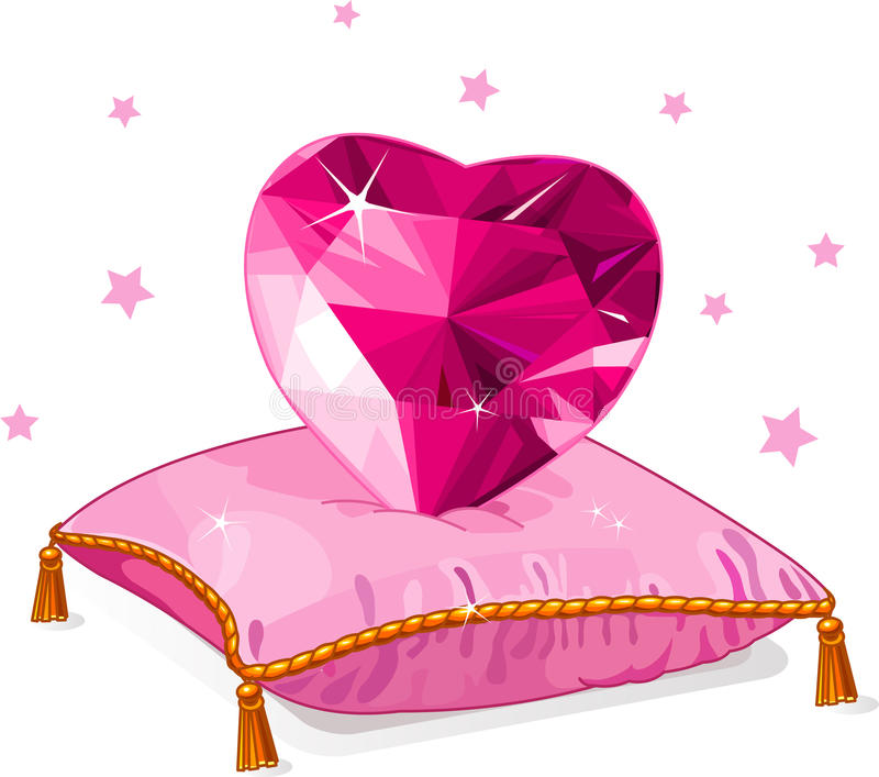 Download Love Heart On The Pink Pillow Stock Vector - Image: 22960594