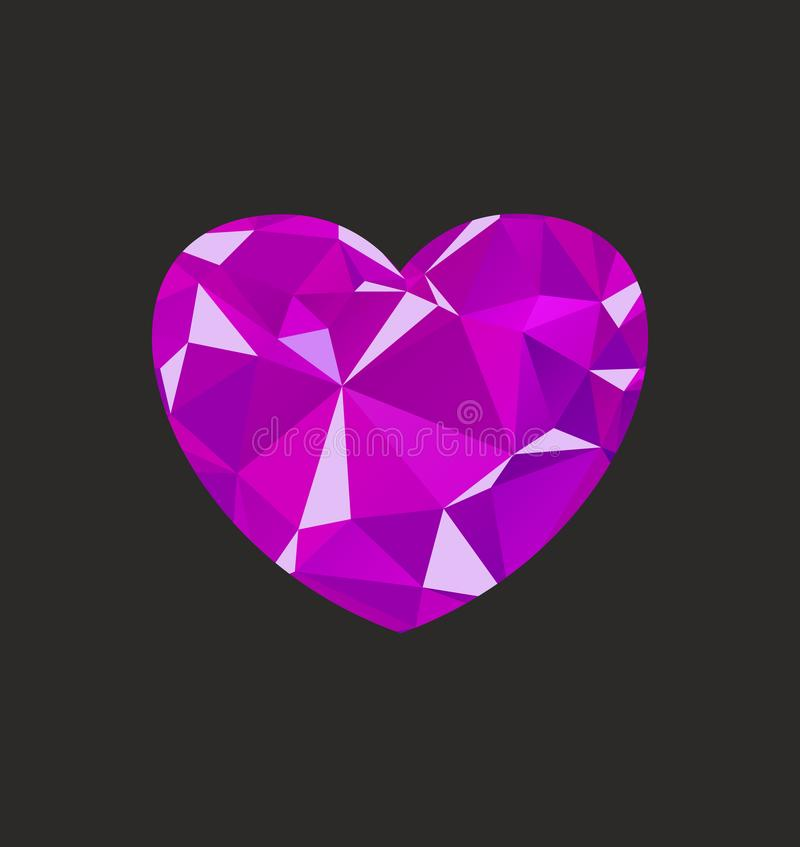 Heart diamond lilac vector illustration