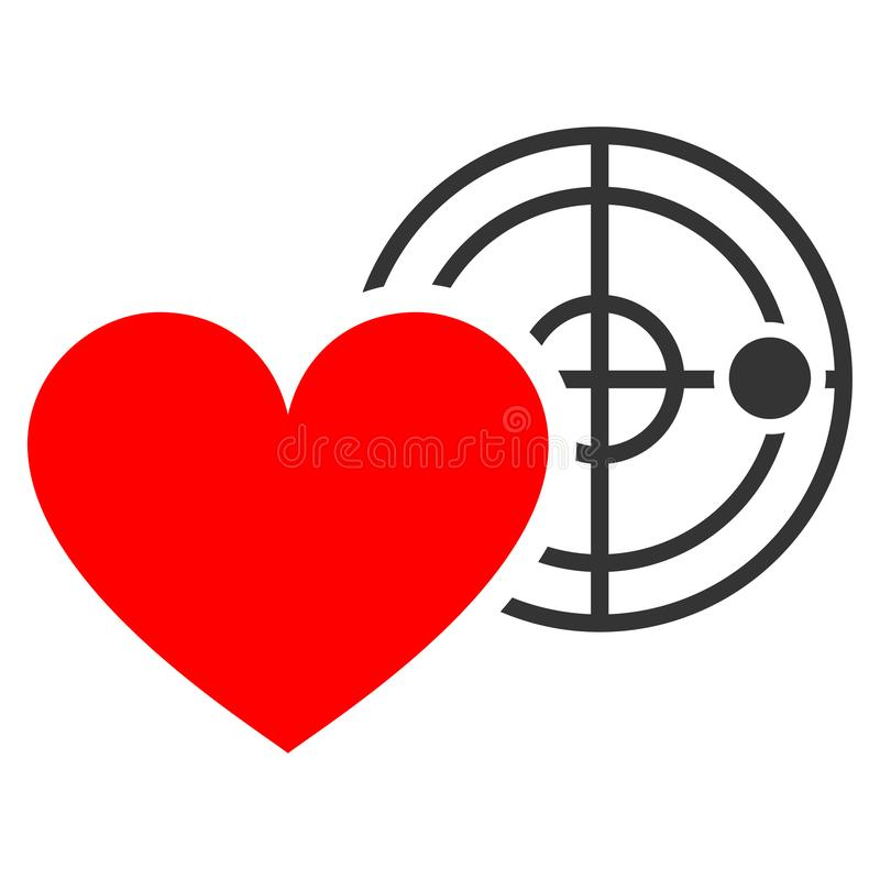 Love Heart Radar Flat Icon. Love Heart Radar flat vector pictograph. An isolated icon on a white background royalty free illustration