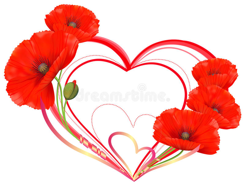 Love, heart of red poppies vector illustration