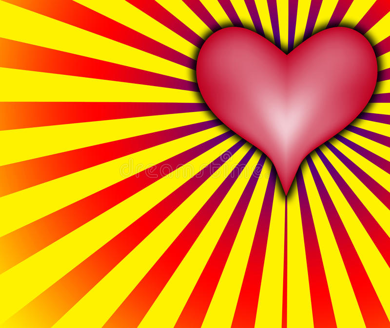 Love heart With Red And Yellow Rays royalty free illustration